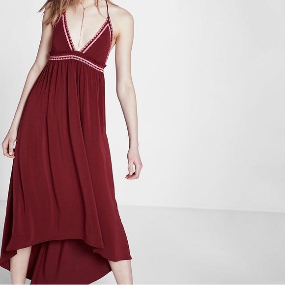 Express Dresses & Skirts - NWT•Express•Halter Maxi Embroidered Dress•L